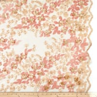3D Multi Flower Embroidery Mesh Peach/Blush