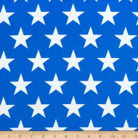 Spandex Stretch Activewear Jersey Knit Stars White/Royal