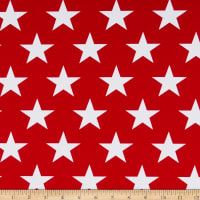 Spandex Stretch Activewear Jersey Knit Stars White/Red