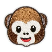 Iron-On Applique Patch Emoji Monkey Brown