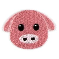 Iron-On Applique Patch Emoji Pig Pink