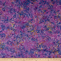 Wilmington Batiks Graphic Floral Purple/Yellow