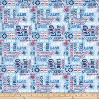Wilmington American Valor Words Allover Blue