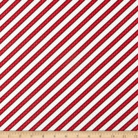 Wilmington Snowy Wishes Ticking Stripe Red
