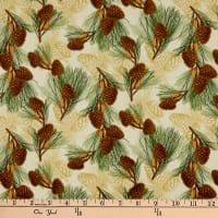 Wilmington Festive Forest Pine Cones Tan