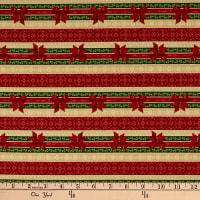 Wilmington Festive Forest Ticking Stripe Red