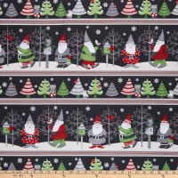 Wilmington Winter Gnomes Repeating Stripe Multi