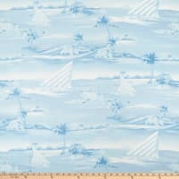 Rayon Challis Set Sail Island Pale Blue/White