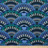 Stretch Modal Jersey Knit Zoolu Medallions Blue/Green/Black/White