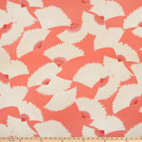 Fan Print ITY Knit Coral/Tan/White