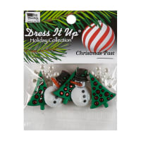 Dress It Up Embellishment Buttons 6pc - Christmas Past