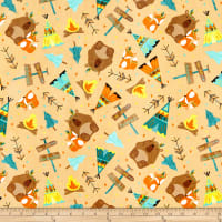 Designer Flannel, Forest Animals Main Orange