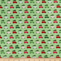 Riley Blake Merry And Bright Cars Light Green