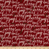 Riley Blake Winterberry Text Red