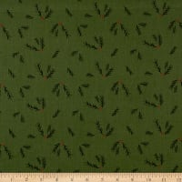 Riley Blake Winterberry Sprigs Green