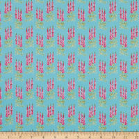 Riley Blake Sweet Melody Tall Flowers Light Blue