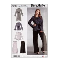 Simplicity 8794 Misses' Jacket, Top and Pants H5 (6-8-10-12-14)