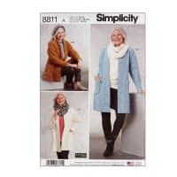 Simplicity 8811 Misses' Knit Sweater, Scarf and Headband A (Sizes XS-S-M-L-XL)