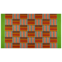 Supreme Kente African Print 6 Yards Red/Blue/Green Border