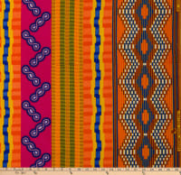Supreme Kente African Print 6 Yards Pink/Blue/Yellow
