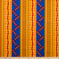 Supreme Kente African Print 6 Yards Blue/Yellow/Orange