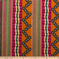 Supreme Kente African Print 6 Yards Orange/Green/Red