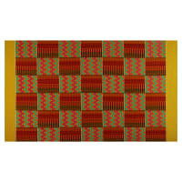 Supreme Kente African Print 6 Yards Red/Green/Yellow Border