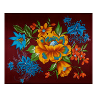 Supreme Fancy Flower African Wax Broadcloth 6 Yards Merlot/Yellow/Blue