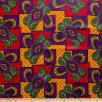 Supreme Basin African Wax Print 6 Yards Nyame Multi Purple