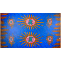 Supreme Basin African Ankara Wax Print 6 Yards Blue Sun