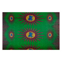 Supreme Basin African Ankara Wax Print 6 Yards Green Sun