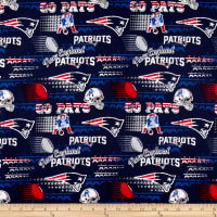 NFL Cotton Broadcloth New England Patriots Retro Navy
