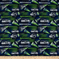 NFL Cotton Broadcloth Seattle Seahawks Retro Green