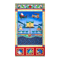 """A Quilter's Christmas Village Scene 24"""" Panel Multi"""