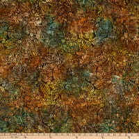 Benartex Bali Batiks Lake Front Forest Leaf Forest Multi
