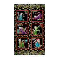 Benartex Cat-I-tude Christmas Cat-I-tude Holly Panel Black/Multi