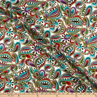 Benartex Cat-I-tude Christmas Paisley Swirl White/Multi