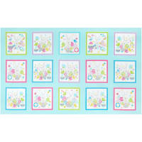 "Kanvas Some Bunny Loves You Bunny Boxes Medium Aqua 24"" x 42"" Panel"