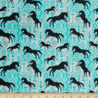 Benartex Born To Run Horses Silhouette Turquoise