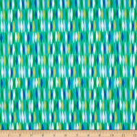 Contempo Abstract Garden Picket Fences Green/Aqua