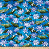 Kanvas Dragonfly Dance Waterlily Pool Cobalt Blue