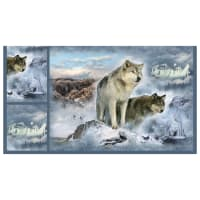 "Shannon Hoffman Digital Minky Cuddle 33"" Panel Wolves"