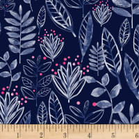 Shannon Studio Digital Minky Cuddle Modern Leaf Ink