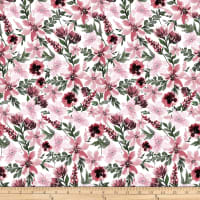 Shannon Studio Digital Minky Cuddle Spring Flowers Rosewood