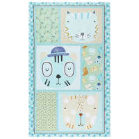"Contempo Little Friends 24"" Panel Aqua"