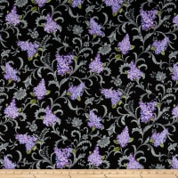 Lilacs in Bloom Lilac Vine Scroll Black