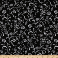 Lilacs in Bloom Vine Scroll Black