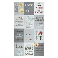 "Contempo Words to Live By Love 24"" Panel Grey/Multi"