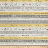 Contempo Words to Live By Word Stripe Grey/Yellow