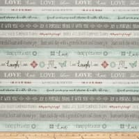 Contempo Words to Live By Word Stripe Grey/Turquoise